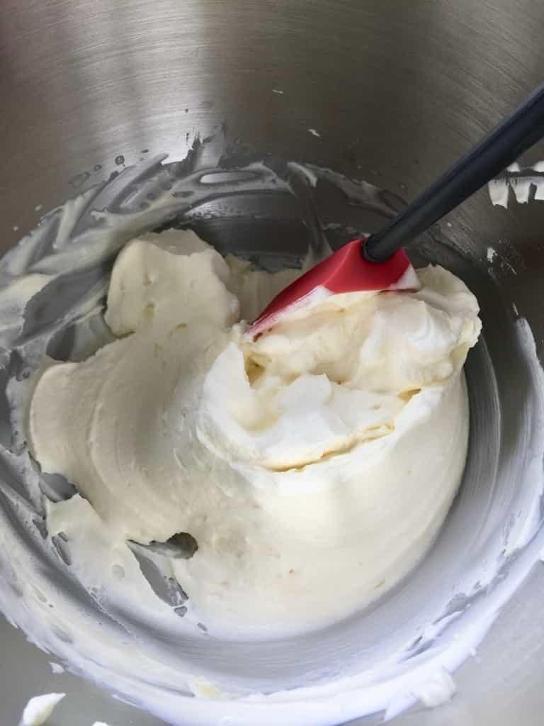 Cream cheese mixture in a bowl.