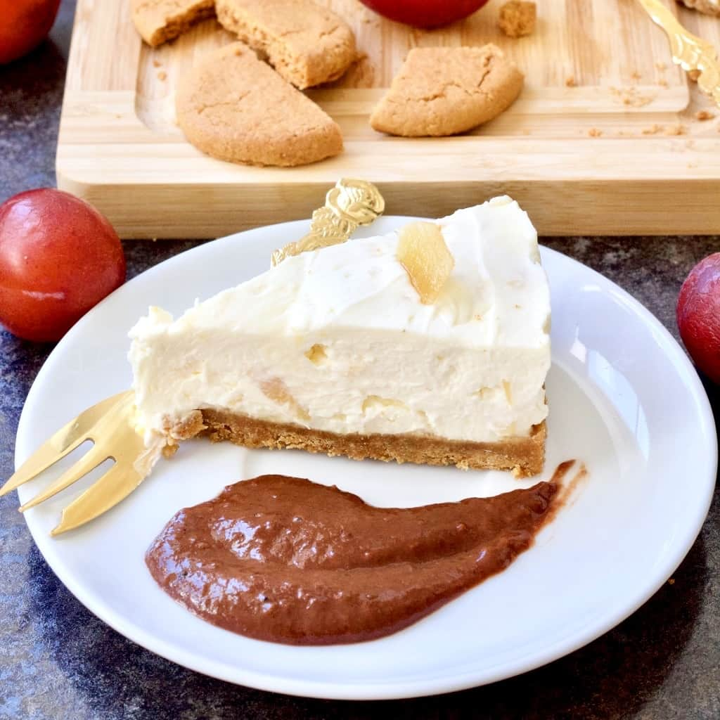 Slice of stem ginger cheesecake with chocolate spread.