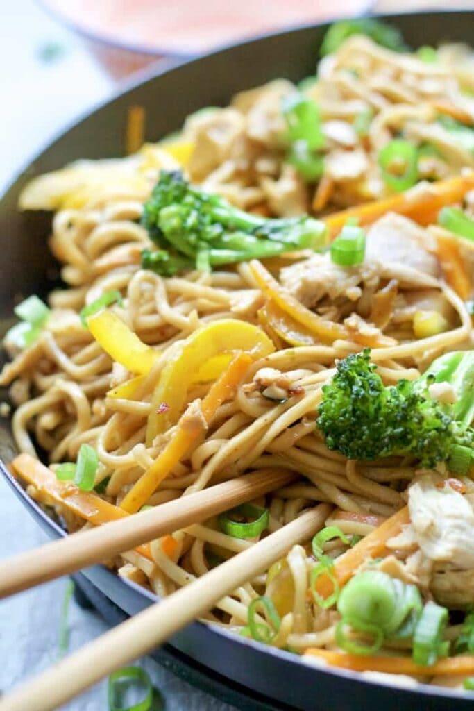 Chicken Chow Mein close up.
