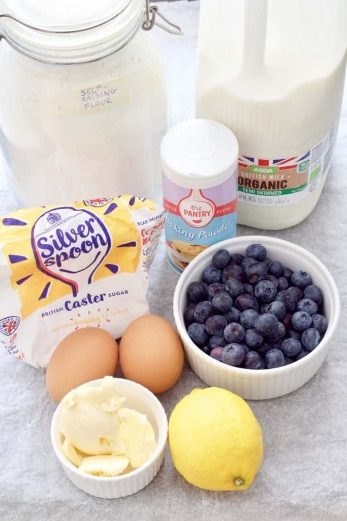 Ingredients for making blueberry muffins.